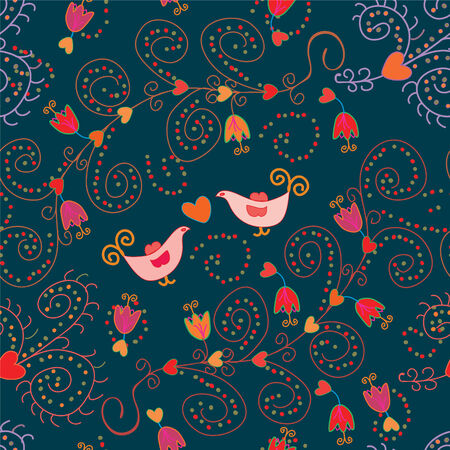 Romantic floral seamless pattern with birds Vector