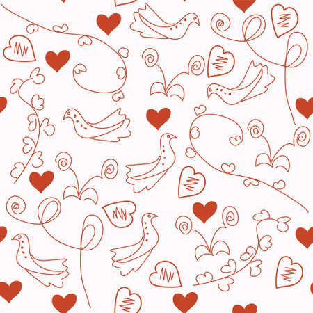 Seamless red romantic pattern with doves and hearts Vector