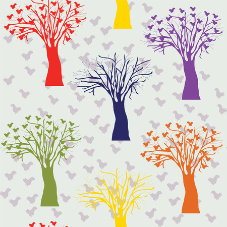 Cartoon trees color seamless pattern Vector