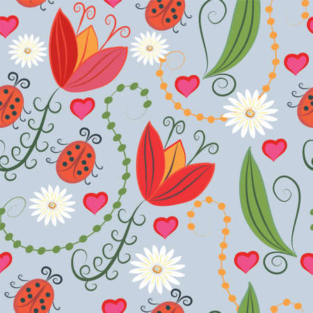 Romantic seamless with tulips and hearts Stock Vector - 8774899