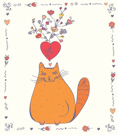 Love card with cat, hearts and flowers Vector
