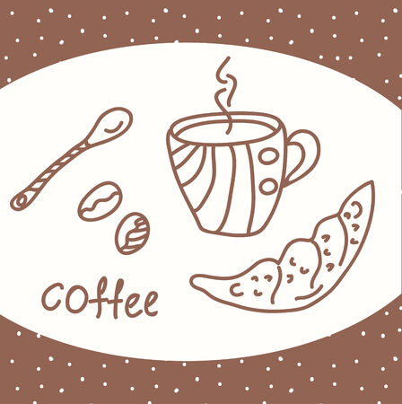Coffee card with beans and cup Vector