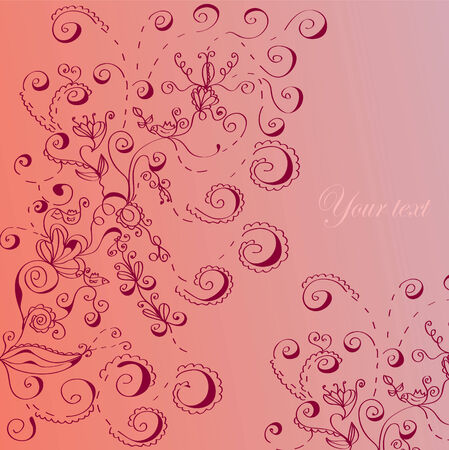 Floral greeting card in pink Stock Vector - 8774898