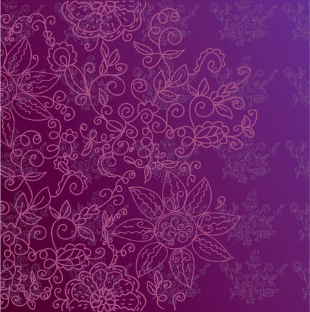 Floral ornate decorative background in purple colors