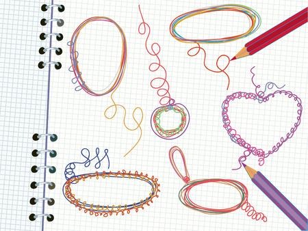 Doodle frames in the copybook Vector