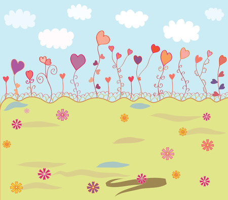 Spring background with hearts and clouds Stock Vector - 8774892