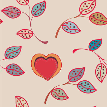 Abstract pattern with leaves and heart Stock Vector - 8774906