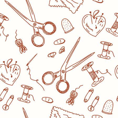 knutsel spullen: Naai naadloze doodle patroon - artistieke objecten