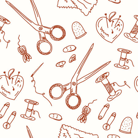 Sewing seamless doodle pattern - artistic objects