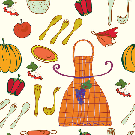 Kitchen set seamless funny pattern Vector