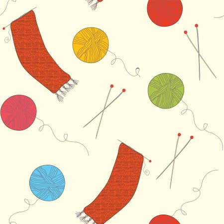 gomitoli di lana: Maglieria divertente senza saldatura con palle e aghi Vettoriali