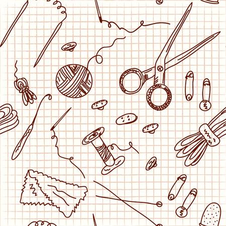 knutsel spullen: Naaien en breien doodle naadloze Stock Illustratie
