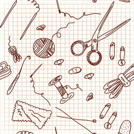 Sewing and knitting doodle seamless Vector