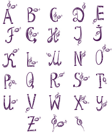 Hand drawn alphabet set with rose berries Stock Vector - 8774929