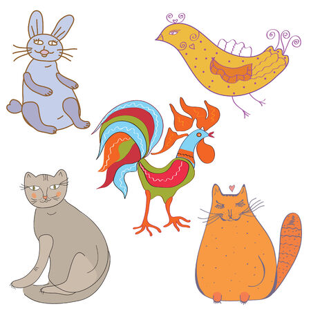Set of funny cartoon animals and birds Vector