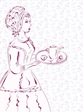 apporter: Serveuse Vintage sketch motifs de caf�.