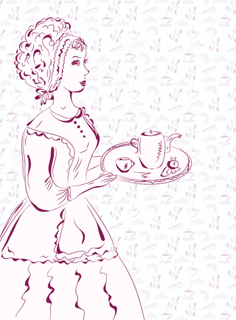 woman drinking tea: Vintage waitress sketch with coffee pattern