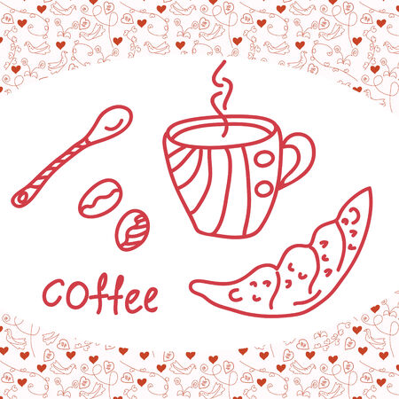 Coffee card with love background Vector