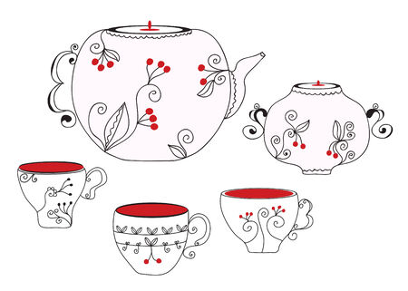 Tea set with cups and pot Stock Vector - 8774915