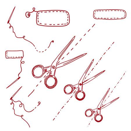 Scissors and needles doodle set