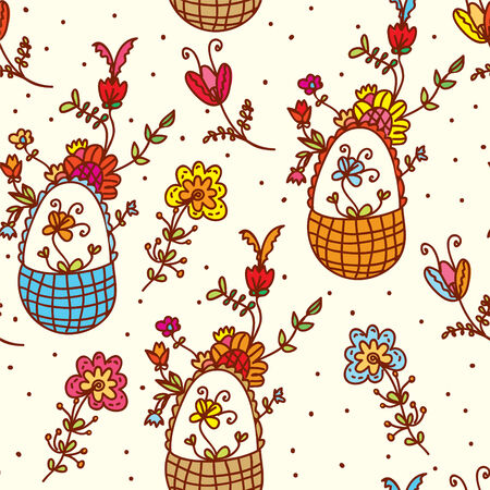 Basket floral seamless bright pattern  Vector