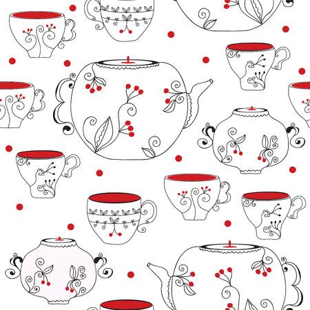 瀬戸物: ティーポットとカップとのシームレスなパターン