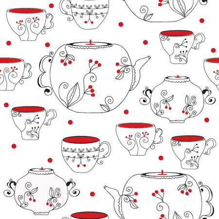 Seamless pattern with tea pots and cups Stock Vector - 8882580