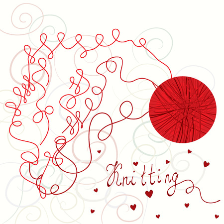 cotton ball: Kniting card with red ball Illustration