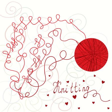 hilo rojo: Tarjeta de kniting con bola roja