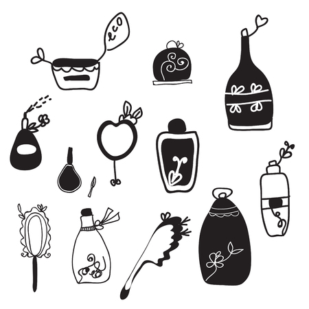Cosmetic set of artistic icons  Vector