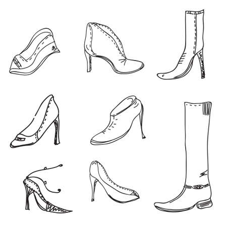 upmarket: Fashion shoes abstract art sketch Illustration