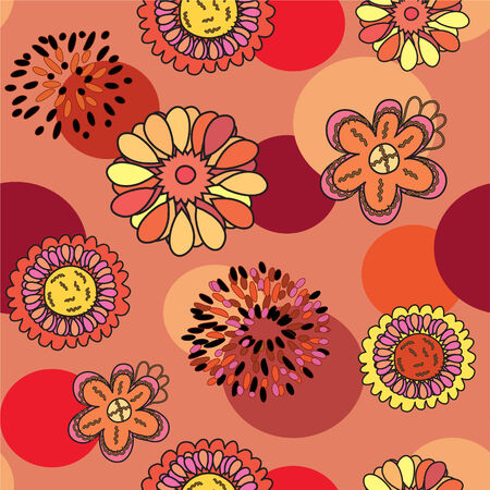 Seamless cartoon pattern with flowers Vector