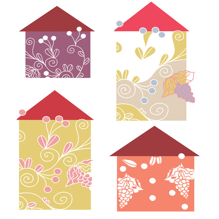 Set of house floral icons  Stock Vector - 8882590