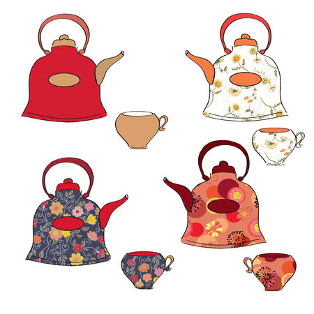 Tea set of pots and cups with floral pattern Vector