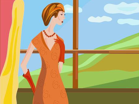 alone and sad: Mujer retro por la ilustraci�n de la ventana