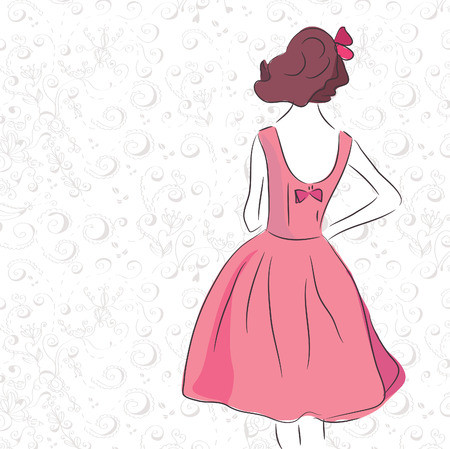 Fashion vintage girl in the pink dress on the romantic pattern