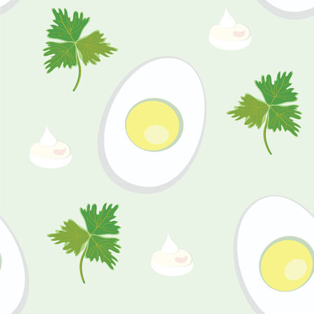 mayonnaise: Seamless pattern with egg and parsnip, mayonnaise