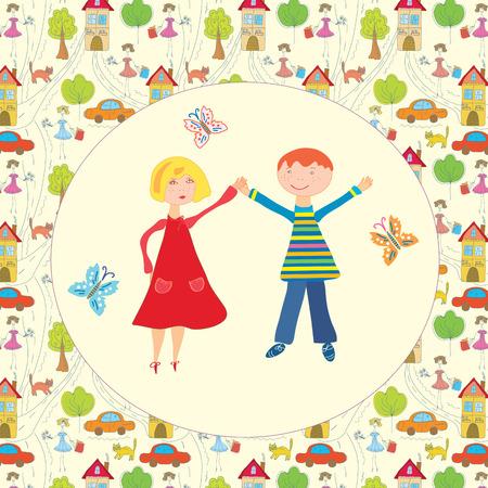 Happy boy and girl together cartoon Vector