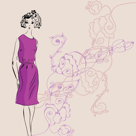 flower show: Ragazza di moda in abito rosa su floral background