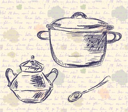 tovagliolo: Schizzo di pan e cucchiaio sullo sfondo vecchio tempo Vettoriali