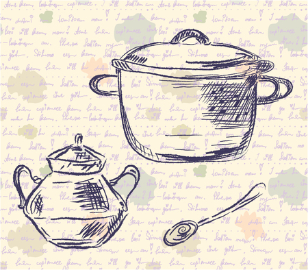 old kitchen: Sketch of pan and spoon on the old time background