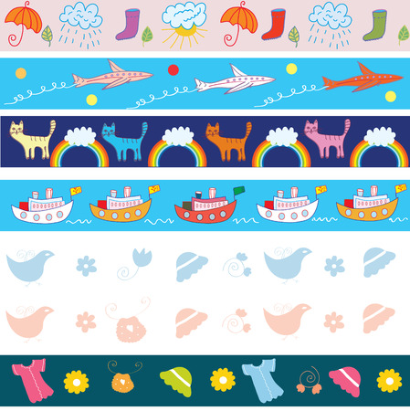 Set of seamless border with funny pictures for child Vector
