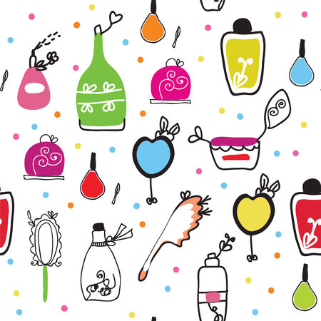mirror image: Seamless funny pattern with cosmetics and perfume