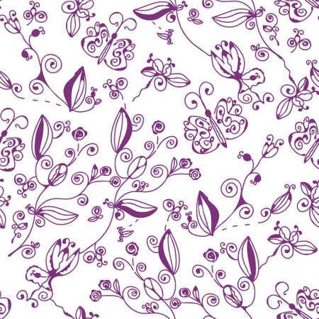 Decorative seamless graphic floral pattern with butteflies Stock Vector - 8984366
