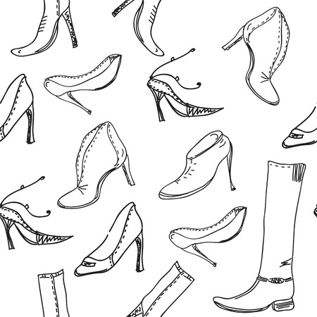 Seamless pattern with graphic shoes Vector