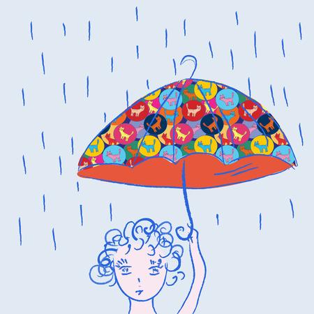 Cute child with umbrella in the rain Vector