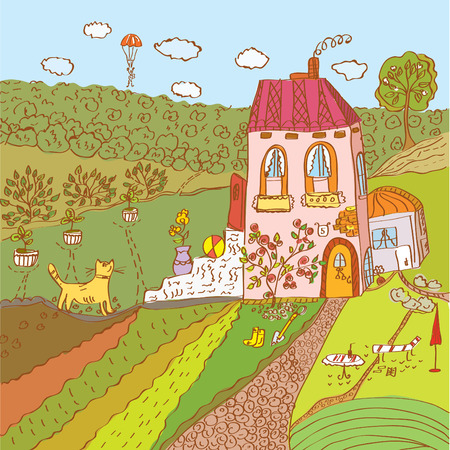 Summer cartoon landscape with house and cat