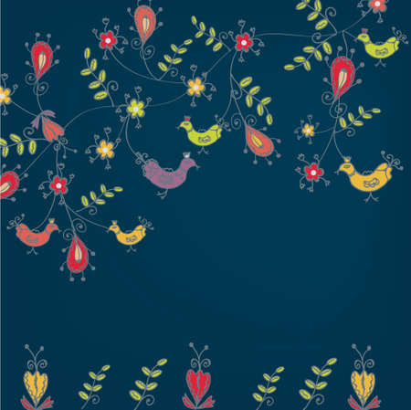 Floral background with birds greeting card Stock Vector - 9090717
