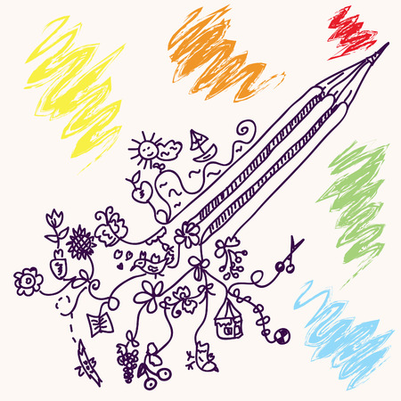 Funny pencil concept doodle with objects Vector