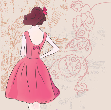 shows: Retro fashion model in dress on the grunge background Illustration